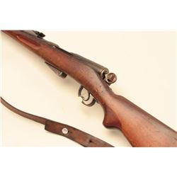 Schmidt Rubin straight pull bolt rifle, blued finish, wood stock,