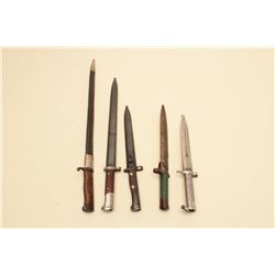 Lot of 5 various bayonets with sheaths including a German