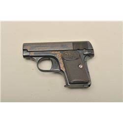 FN pocket semi-automatic pistol, engraved and gold accented, .25 caliber,