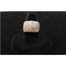 14k white gold wide diamond band set with 72 diamonds