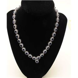 High quality sapphire and diamond necklace in 14 k white