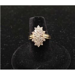 Fine weterfall cluster ring in 19k yellow gold set with