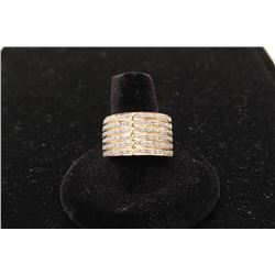 14k yellow gold 14mm wide band set with 60 diamonds