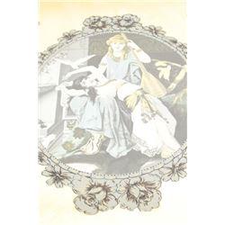 Vintage mirror with reverse paintings (1952) darling scenes. Est.: $100-$200