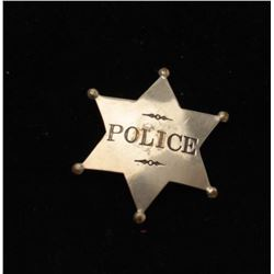Vintage 6 point star with ball tips badge marked Police.