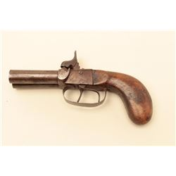 Double barrel percussion Snake Eyes pistol circa mid 19th century