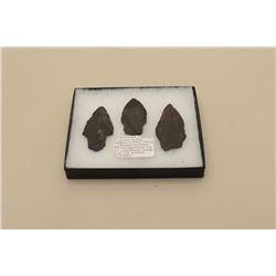 Riker case with 3 arrowheads and consignor note: Alaskan Eskimo/Yupik