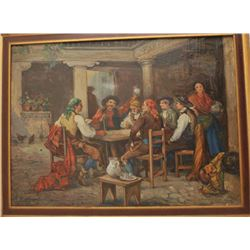 Fine original oil painting of Spanish pub or inn signed