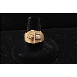 Art retro (1940s) mens ring in 14k showing medical symbol.