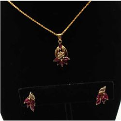 Chin Tec Lon Thailand made premier jeweler ensemble. Pendant and