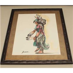 Framed and matted watercolor of Indian woman by G. Bradeson,
