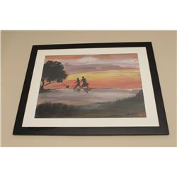 Framed and matted watercolor of children with a ball by