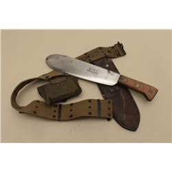 U.S.M.C. bolo knife with 1942-dated leather scabbard, web belt and