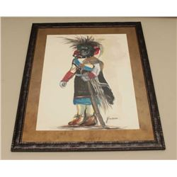 Framed and matted watercolor of Indian Ceremonial figure as a