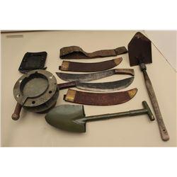 Lot of military accessories including 2 Collins Legitimus bolo knives