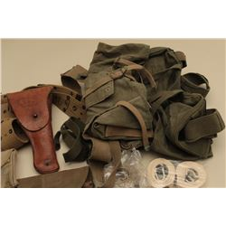 U.S. military lot including a leather 1943-dated holster for a