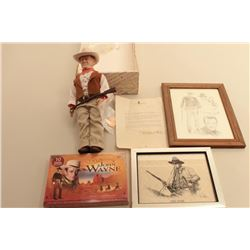 John Wayne collectible lot including an Effanbee John Wayne doll