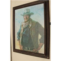 Print on canvas of John Wayne measuring approximately 30 x