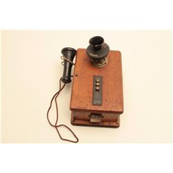 Monarch Telephone Mfg. Co. vintage wooden wall phone. The phone