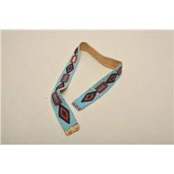 Indian beaded on buckskin belt in geometric and diamond patterns