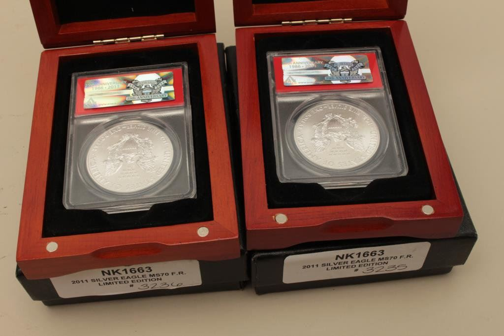 2011 ANACS MS70 25th Anniversary Silver Eagle FIRST RELEASE w// Wooden Box