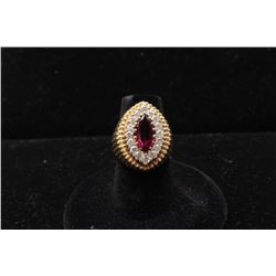 Vintage 2ct natural Ruby Marquis cut with 16 round brilliant