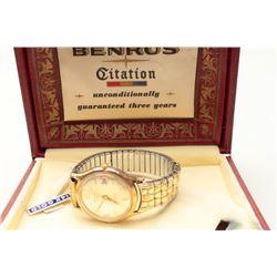 Vintage Benrus watch in box. 14K. Est.: $100-200