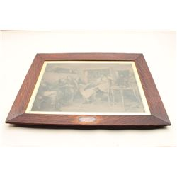 1903 steel engraved print of golfers at the barber shop