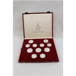 Cased set of 28 Moscow 1980 Olympics commemorative uncirculated coins.