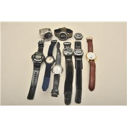 9 later quartz watches various makers, running condition not known