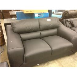 BLACK LEATHER 2 SEAT SOFA