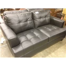 BLACK TUFTED LEATHER 2 SEAT SOFA