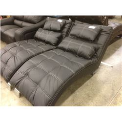 BLACK TUFTED LEATHER LOUNGE CHAIR