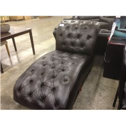 ASHELY LARGE BROWN TUFTED LEATHER LOUNGE CHAIR