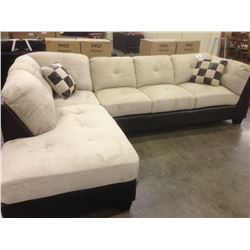 TWO TONE LEATHER AND SUEDE CORNER SECTIONAL 6 SEAT SOFA