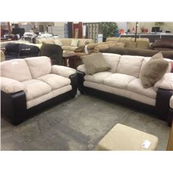 TWO TONE LEATHER AND SUEDE 2 AND 3 SEAT SOFA SET