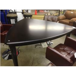 DARK WOOD CURVED COUNTER HEIGHT DELTA SHAPED TABLE