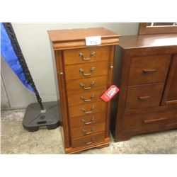 LIGHT CHERRY WOOD 4' TALL 8 DRAWER JEWELLERY WITH 2 SIDE DOORS