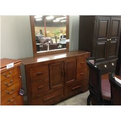 DARK CHERRY WOOD DRESSER WITH MIRROR AND END TABLE