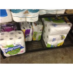 SHELF LOT OF PAPER TOWEL AND TOILET PAPER