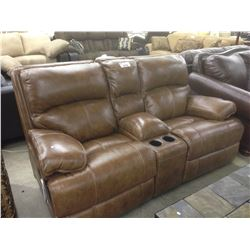 LIGHT BROWN LEATHER ELECTRIC 2 SEAT HOME THEATRE STYLE RECLINER