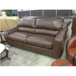 BROWN LEATHER 3 SEAT SOFA WITH PULL OUT BED