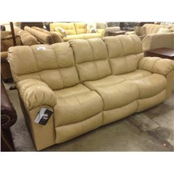 CREAM LEATHER 3 SEAT SOFA