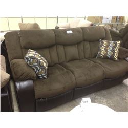 CHOCOLATE BROWN SEUDE 3 SEAT RECLINING SOFA