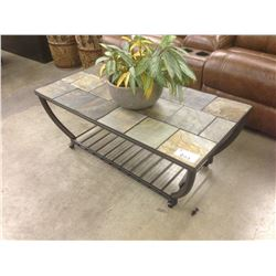 STONE AND METAL FRAME 4' X 1.5' INDOOR/OUTDOOR COFFEE TABLE
