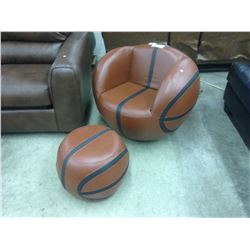 ROUND LEATHER MODERN DESIGN CHAIR AND FOOT STOOLS