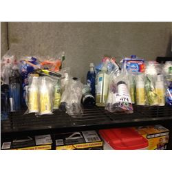 SHELF LOT OF ASSORTED CLEANING AND HOUSEHOLD PRODUCTS