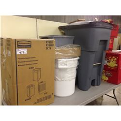 LOT OF 4 COMMERCIAL RUBBERMAID GARBAGE BINS