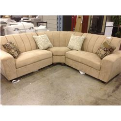 TAUPE SEUDE 3 PIECE SECTIONAL SOFA