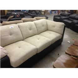 BEIGE 2 TONE 2 SEAT CHAISE STYLE SOFA